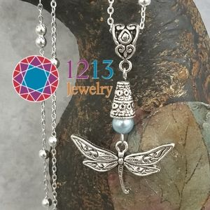 Artist Created STERLING CHAIN Dragonfly Necklace